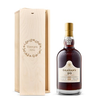 Graham's Tawny 20 Years port in engraved case