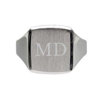 Zilveren zegelring graveren - Heren - 20