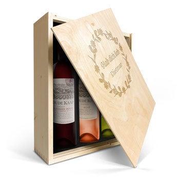 Oude Kaap Rosé, Rot & Weiß - Weinkiste mit Gravur