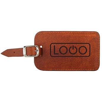 Etiqueta de equipaje de cuero - Marrón