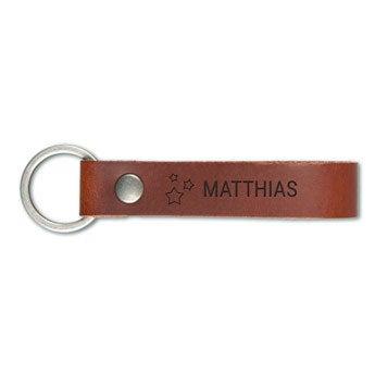 Schlüsselanhänger Leder mit Gravur -Braun - L