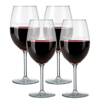 Rødvinsglas med gravering (4 stykker)