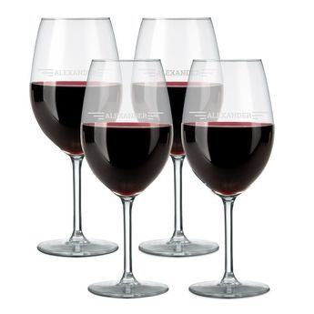 Rødvinsglas med navn (sæt med 4)