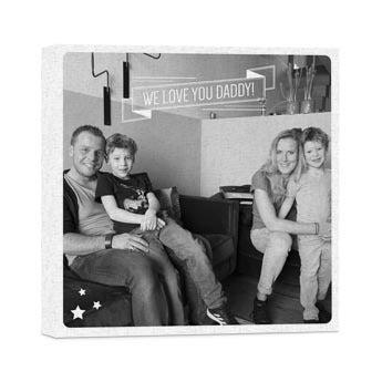Billede til fars dag på lærred – 40x40 cm