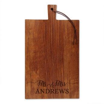 Dřevěný servírovací talíř - týk - obdélník - portrét (L)