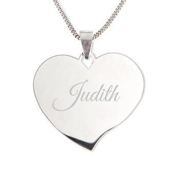 Silver name pendant - Heart (drop)