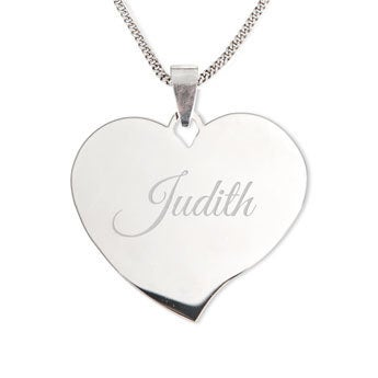 Silver name pendant - Heart (drop)