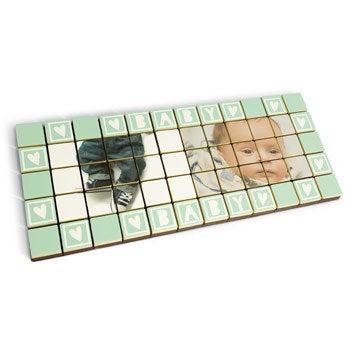 Foto op 60 chocolade blokjes - massief