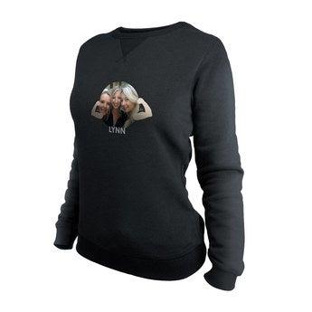 Brugerdefineret sweatshirt - Kvinder - Sort - L