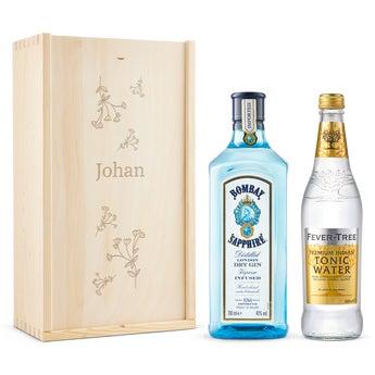 Presentset Bombay Sapphire Gin - Graverad ask