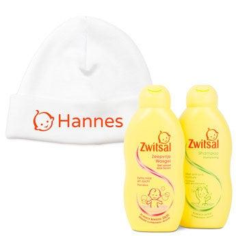 Zwitsal Babypflege Set + Babymütze mit Namen