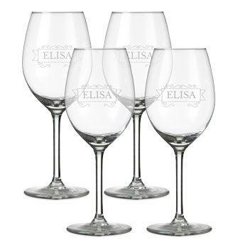 Vitt vinglas med gravyr - 4 stycken
