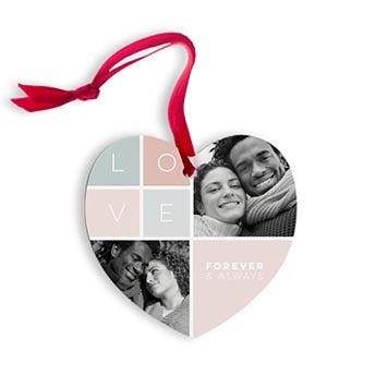 Julepynt med et foto - hjerter