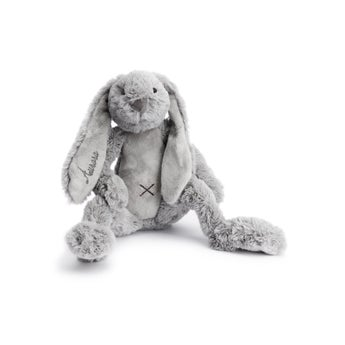 Rabbit Richie -pehmolelu nimellä - 38 cm - Harmaa