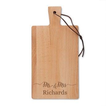 Drevený servírovací tanier - bukové drevo - obdĺžnikový - portrét (S)