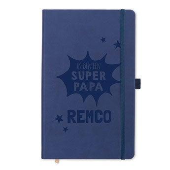 Vaderdag notitieboek met naam - Blauw