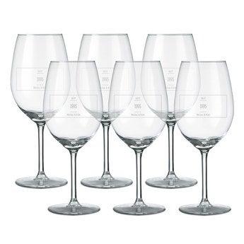 Rotweinglas mit Gravur (6 Stück)
