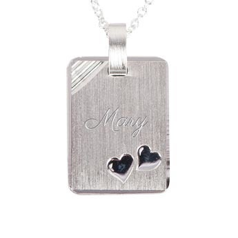 Engraved silver pendant with hearts - Rectangle