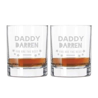 Whiskyglas med gravyr - Farsdag - 2 stycken