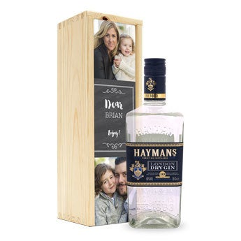 Hayman's gin- I låda med tryck
