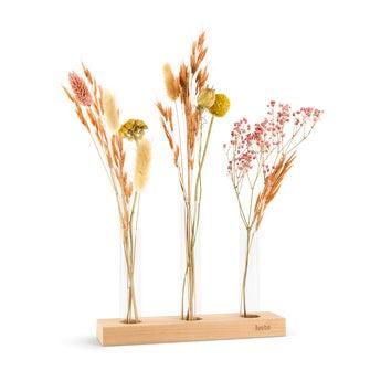 Sušené kvety - 3 vázy - personalizovaný drevený stojan