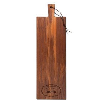 Dřevěný servírovací talíř - Teak - Oblong - Portrét (M)