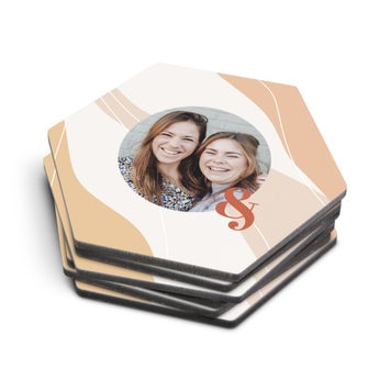 Personalised coasters - Hexagon - Set of 6