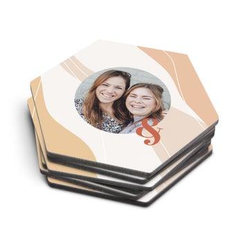 Sottobicchieri Personalizzati - Esagonali - 6 pezzi