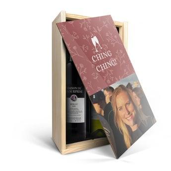 Maison de la Surprise - Merlot & Sauvignon Blanc - In personalised wooden case