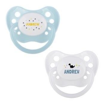 Baby chupetas (conjunto de 2) - branco e azul
