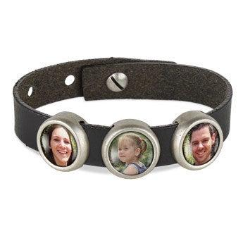 Photo charm bracelet - Black - 3 photos