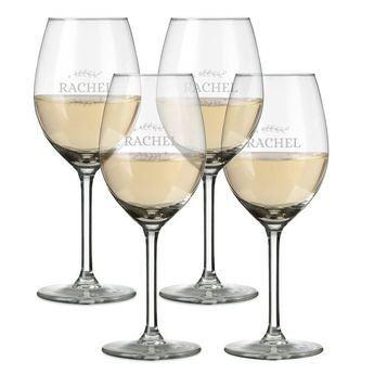 Copas de vino blanco grabadas - Set de 4