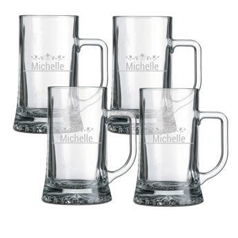 Glass beer mug - set of 4