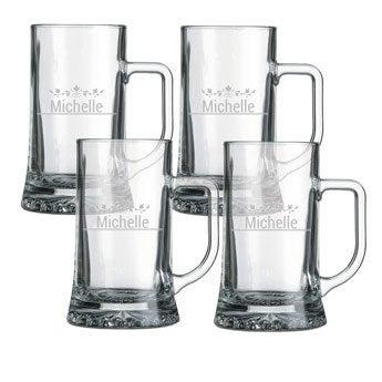 Ølkrus med Gravering i Glas – sæt med 4 stk.