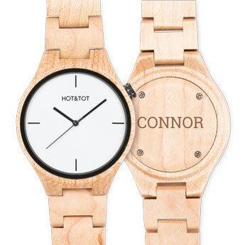 Drewniany zegarek z grawerem