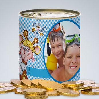 Barattolo Dolci Doodles - monete di cioccolato