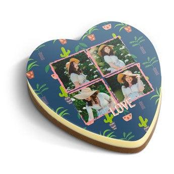 Tarjeta de chocolate - Impresión en corazón