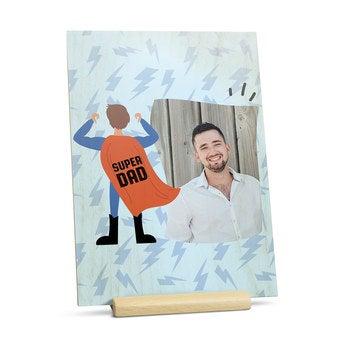 Vatertagskarte aus Holz - Vertikal