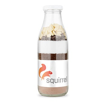 Brownie baking mixture with personalised label