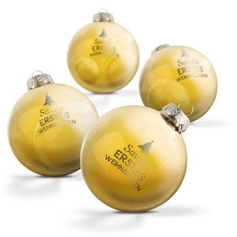 Weihnachtskugel Glas - Gold (4 Stück)