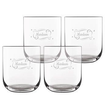 Vasos de agua de lujo - Grabado - 4 piezas