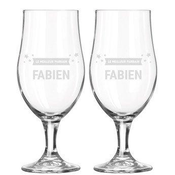 Verre à bière à pied gravé - Parrain (2 pièces)