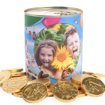 Plechová nádoba - čokoládové mince