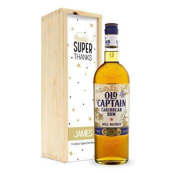 Rum Old Captain w skrzynce z nadrukiem