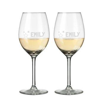 Weißweinglas mit Gravur (2 Stück)