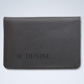 Titular de cartão de banco de couro - preto