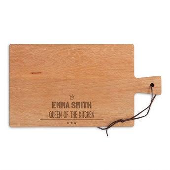 Fából készült tál - Bükkfa - Négyszögletes - Tájkép (M)