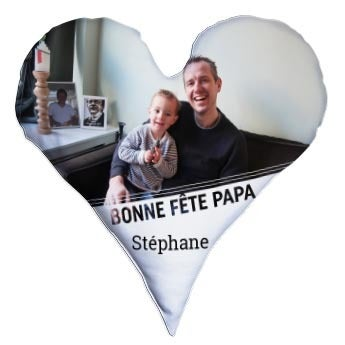 Coussin Fête des pères recto verso personnalisé - Cœur - Velours (60 x 60 cm)
