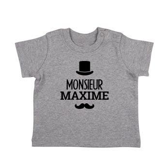 T-shirt bébé - Manches courtes - Gris chiné
