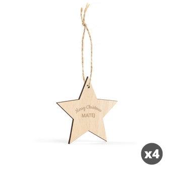 Gravírovaná vianočná ozdoba - Hviezda - 4 ks